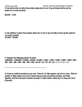 Performance Task Assessment NBT.A.1, NBT.A.2, NBT.A.3, NBT.B.4, OA.A.1 SBAC/ CRT