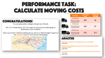 Performance Task: Calculate Moving Costs (Multiplication)