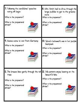 Performance Task Cards:  Prepositions and Prepositional Phrases