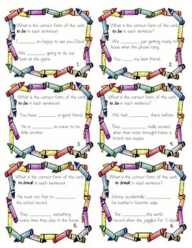 Performance Task Cards: Verb Conjugations (2 activities)