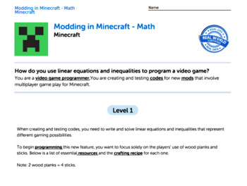 G9-12 Equations and Inequalities - Modding in Minecraft Performance Task