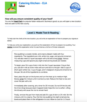 Bundle G5 Explanatory Reading & Writing - 'Catering Kitchen' Performance Task