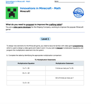 G4 Multiplication & Factors - 'Innovations in Minecraft' Performance Task
