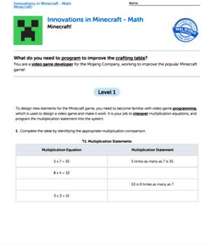 G4 Multiplication & Factors - Innovations in Minecraft Performance Task
