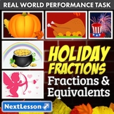 Bundle G3 Fractions & Equivalents - Holiday Fractions Performance Task