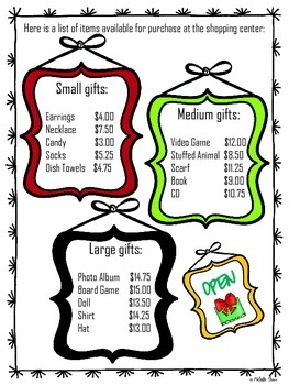 Performance Task {Holiday Shopping} FREEBIE!