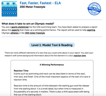 Bundle G5 Informative Reading & Writing-'Fast, Faster, Fastest' Performance Task