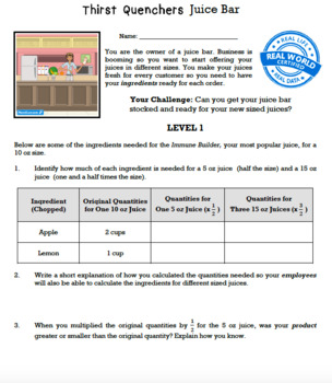 Bundle G5 Multiplying & Dividing Fractions - Thirst Quenchers Performance Task