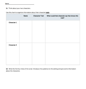 Bundle G3 Narrative-Script Reading & Writing - 'Set the Stage' Performance Task