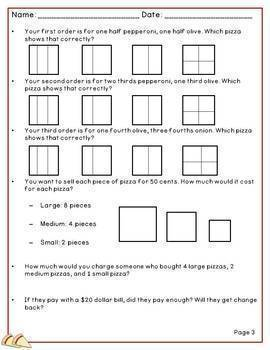 Performance Task Addition and Subtraction Second Grade Pizza Shop