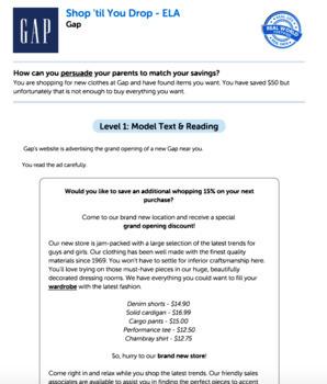 Bundle G5 Opinion Reading & Writing - 'Shop 'til You Drop' Performance Task