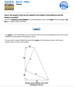 G8 Pythagorean Theorum - 'Zip It!' Performance Task