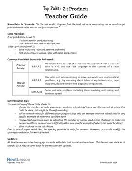 Performance Task – Ratio & Rates – Top Picks: Zit Cream