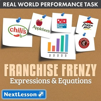 Bundle G7 Expressions & Equations - 'Franchise Frenzy' Performance Task
