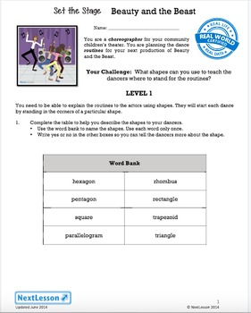 Performance Task - Shapes: attributes and parts - Set the Stage: Beauty & Beast