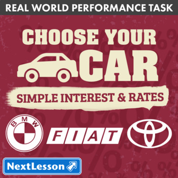 Bundle G7 Simple Interest & Rates - 'Choose Your Car' Performance Task
