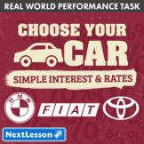 Bundle G7 Simple Interest & Rates - Choose Your Car Performance Task