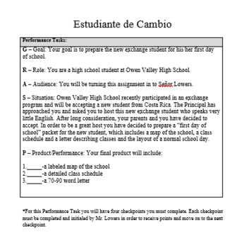 Performance Task Spanish Project Exchange Student School Vocab Class Schedules