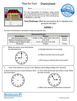 Bundle G3 Time & Word Problems - 'Time for Fun' Performance Task