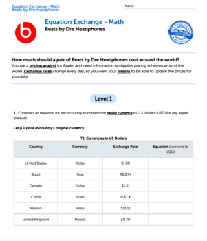 Bundle G7 Writing Equations - 'Equation Exchange' Performance Task
