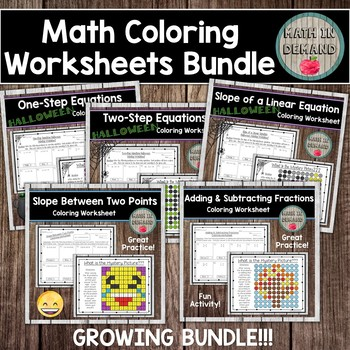 Middle School Math Activities Bundle includes 6th - 9th Grade Math Activities