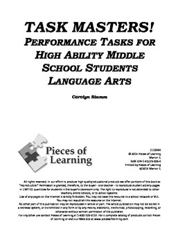 TaskMasters! - Performance Tasks for High Ability Middle School Students - L.A.