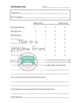 Performance Test Rating Scale with Self-Assessment