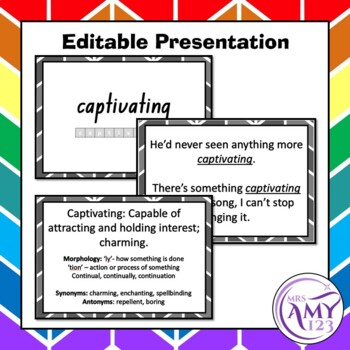 Performance Vocabulary Pack- Word Lists, Flash Cards & Activities