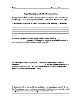 Performance task for Logarithms on Population Growth