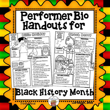 Performer Biography Handouts (Black History Month)