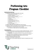 Performing Arts Program Checklist