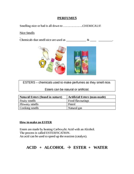Perfumes, states of matter, solubility w/sheets