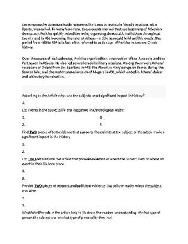 Pericles Article Biography and Assignment