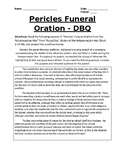 Pericles Funeral Oration DBQ - Ancient Greece