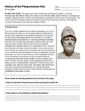 Pericles' Funeral Oration - Peloponnesian War Primary Source Analysis Worksheet