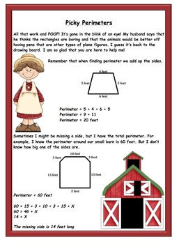Perimeter Activity 4 (finding the missing side using total perimeter)