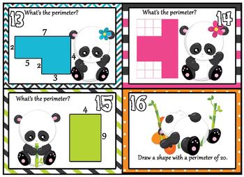 Perimeter - Adorable Panda Perimeter Task cards