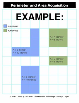 Perimeter & Area Acquisition!  A Common Core Aligned Geometry Game: Gr. 3-5