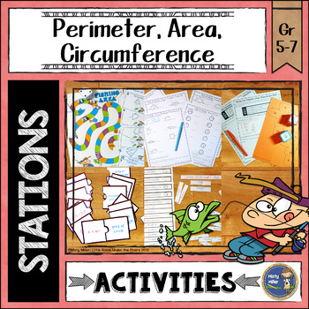 Perimeter Area Circumference Math Stations