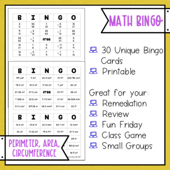 Perimeter Area Circumference BINGO Math Game