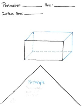 Perimeter, Area, Surface Area Flag Worksheet