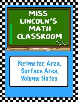 Perimeter, Area, Surface Area, Volume Notes