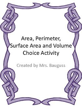 Perimeter, Area, Surface Area and Volume Pick 3 Choice Board