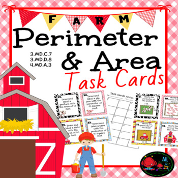 Perimeter & Area Task Cards- On the Farm