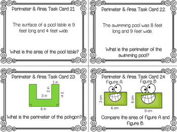 Editable Perimeter & Area Task Cards & Cooperative Learning Activities