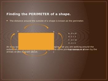 Perimeter, Area & Volume