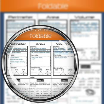 Perimeter, Area, Volume Foldable Graphic Organizer