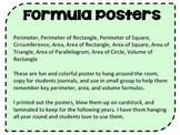 Perimeter, Area, & Volume Formula Posters