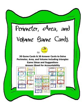 Perimeter, Area, and Volume Task and Game Cards