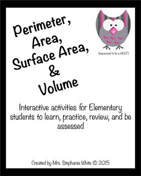Perimeter, Area, Surface Area & Volume Unit: Activities, Games, & Assessments